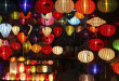 Chinese lanterns with lights as new year decorations